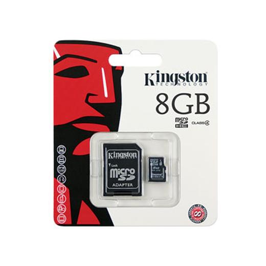 Cartão Kingston Micro SD C/ Adaptador SD 8GB