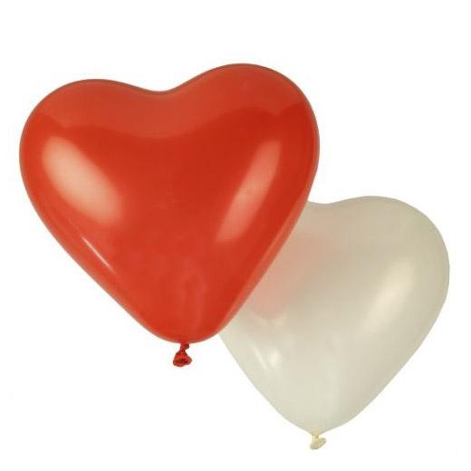 Balões Coração Branco e Vermelho (Pack 8) (Entrega em 24h)