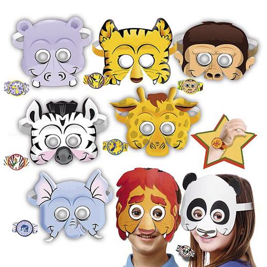 Máscaras e Pulseiras Animais (Pack 8)