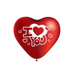 Balões Coração Vermelho I Love You 26 cm (Pack 10) (Entrega em 24h)