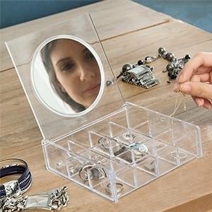 Guarda-jóias Transparente com Espelho (Entrega em 24h)