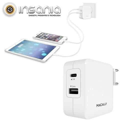 Carregador AC com 2 Portas USB Macally